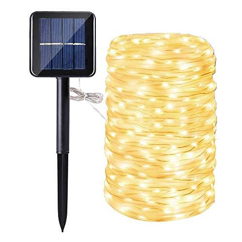 Solar Seil Lichter, 200 LEDs 72ft/22M Garten Solar Lichterketten Wasserdicht Kupferdraht Rohr Gartenleuchten, Outdoor Lichterketten für Garten Hochzeit Dekorativ (Warm White) (Lichter Outdoor-solar-seil)