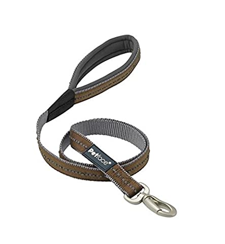 Petface Signature Padded Dog Lead, Large, Brown with grey stitching