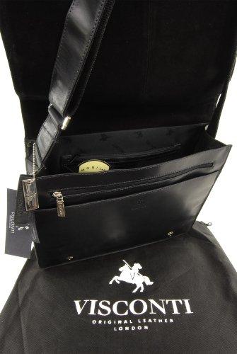 Umhängetasche/Arbeitstasche A4 aus Leder von Visconti (18548) - Größe: B: 35 H: 27,5 T: 10,5 cm Schwarz