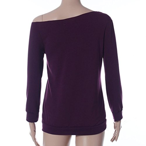 Tonsee® Femmes en vrac Tops manches longues T-Shirt Blouse Casual Violet