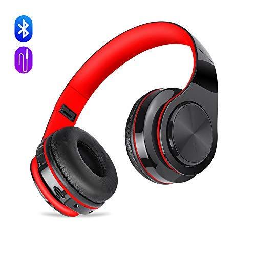 Preisvergleich Produktbild Drahtloser Bluetooth Kopfhörer mit Geräuschunterdrückung mit Eingebauter Mic,  Meihua Tu Wiederaufladbare über Ohr-Kopfhörer mit Bequemen Protein Earmuffs,  Hi-Fi Stereo-Schwarz & Rot