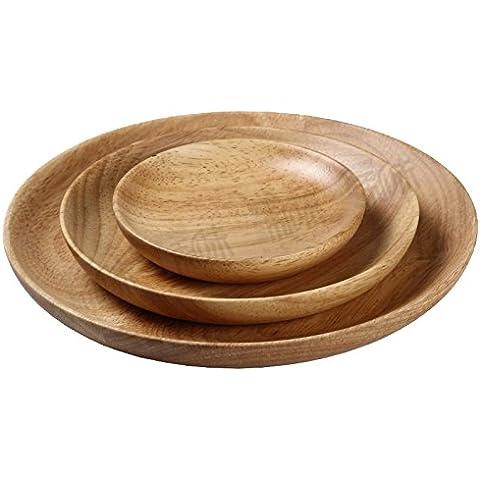 Rainbow Love giapponese in legno piatto, piatto da portata, set di 3