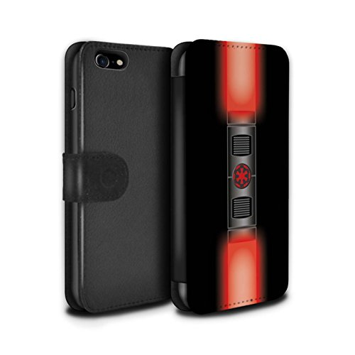 STUFF4 PU-Leder Hülle/Case/Tasche/Cover für Apple iPhone 8 / Maul Sith Herr Rot Muster / Lightsaber Laserschwert Kollektion (Darth Maul-makeup)