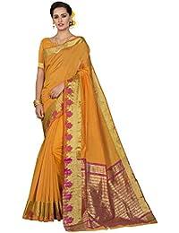 Pisara Women'S Chanderi Silk Saree With Blouse Piece,Yellow