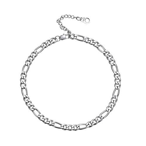 U7 Fußkette Armband Edelstahl 25+5cm Figarokette Fußkettchen Klassische Simpel Stil Damen Herren 5mm breit Fußschmuck Sommer Fußbändchen Mode Strand