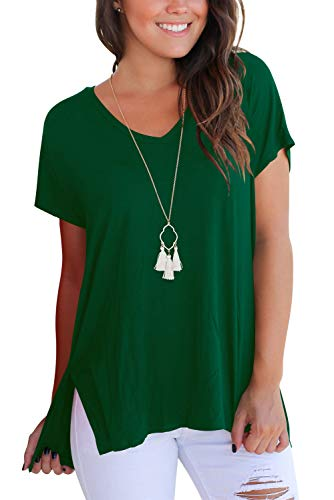 Dasbayla Damen T Shirt V Ausschnitt Kurazarm Übergrösse High Low Dunkelgrün S