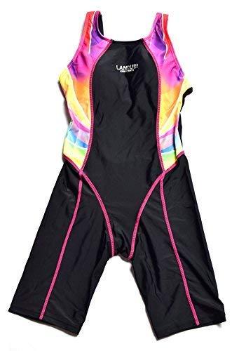 Bwiv Mädchen Badeanzug einteil mit Bein Kinder chlorresistent Wettkampf-Badeanzug Schwarz mit rosanen Streifen 120-130cm,6-8 Jahre