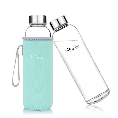 Botella de Agua Cristal 550ml, Ryaco Botella de Agua Reutilizable 18 o