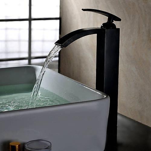 Yannlii Öl Eingerieben Bronze Wasserfall Waschbecken Wasserhahn ORB Schiff  Wasserhahn Centerset Breitgefächert Modern Orb Single Griff