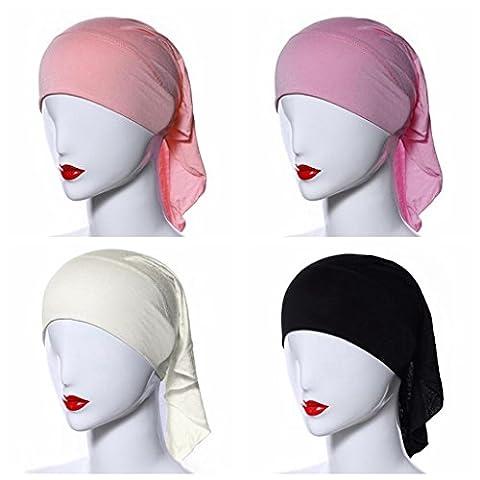 Ksweet 4pcs Stretch Elastic Hijab Cap for Women Summer Underscarf Tube Cap Head Cover Scarf