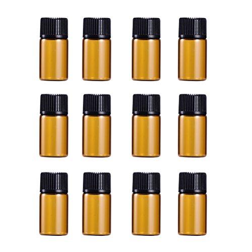 Lurrose 9 Stück 3 ml Mini Amber Glas Fläschchen mit schwarzer Kappe für ätherische Öle, Chemie, Labor, Chemie, Köln, Parfüm - Köln Parfüm Öl
