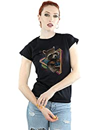 Marvel Femme Guardians of the Galaxy Neon Rocket T-Shirt Small Noir