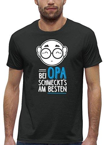 Geschenkidee Herren T-Shirt aus Bio Baumwolle mit Bei Opa schmeckts am besten Stanley Stella Anthrazite