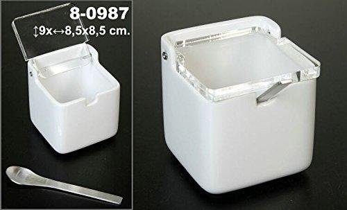 DonRegaloWeb – Sucrier carré en céramique blanc avec couvercle acrylique transparent et cuillère en acier inoxydable.