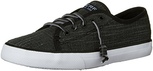 Sperry Top-Sider Seacoast Sneaker (Little Kid/Big Kid), Black/Metallic, 2 M US Little Kid (Sperry Sider Seacoast Top)
