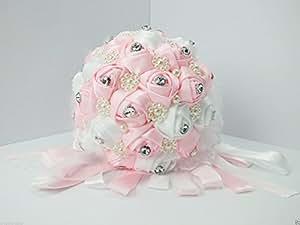 Matrimonio Satin Crystal Pearl fiore bouquet sposa damigella d' onore Rosa
