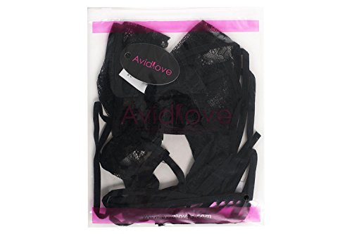 Avidlove Damen Spitze Dessous Strapsen Reizwäsche Lingerie Body Wäsche Neckholder Unterwäsche Tiefer V-Ausschnitt Negligee (M (US M(8-10),UK 12-14, AU 12), A-Schwarz) - 6