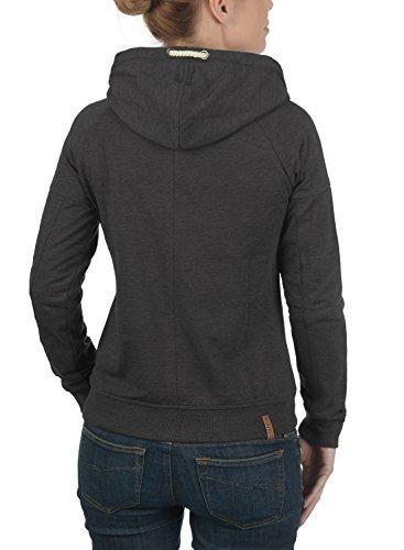 DESIRES Mandy Damen Sweatjacke Kapuzenjacke Hoodie Mit Kapuze Und Cross-Over-Kragen, Größe:XS, Farbe:Dark Grey Melange (8288) - 3