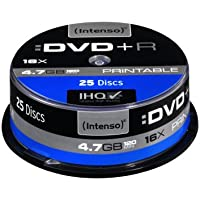 Intenso DVD+R 4,7 GB 16x DVD-Rohlinge bedruckbar kratzfest 25er Spindel