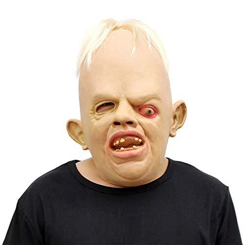 WLWWY Maske Schräge Augen Monster Kopf Maske Deluxe Neuheit Kopf Masken Der Angst Latex Spielzeug Ball Für Halloween-Kostüm