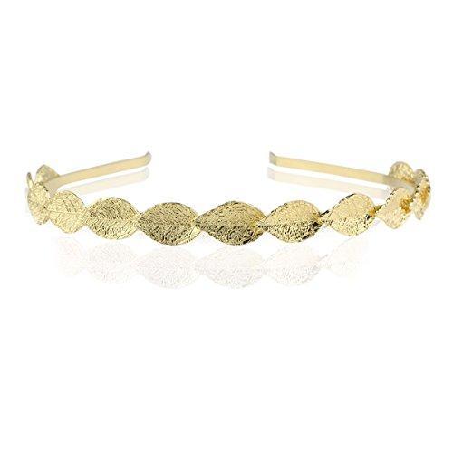 Tinksky feuilles Style mariée strass Serre-tête diadème Tiara cheveux Barrettes Cheveux Noeud (Golden)