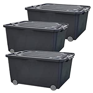 set 3 aufbewahrungsboxen mit deckel und rollen 45 liter grau 3x22321 k che haushalt. Black Bedroom Furniture Sets. Home Design Ideas