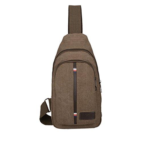 BULAGE Taschen Reisetasche Leinwand Mannbeutel Freizeit Handtaschen Schulter Sport Brusttaschen Rucksäcke Wild Theater Brown