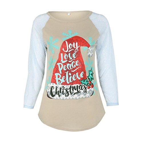 Weihnachten Damen Tops Mädchen Pullover ,OverDose Mutter und Tochter Weihnachten Frauen Brief Spitze Weihnachten Tops Langarm Bluse T-Shirt(4T,Khaki-Tochter) (4t Khaki)