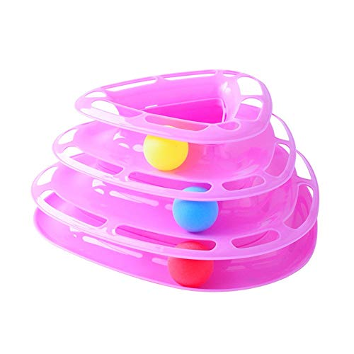 PET CAT Toy tres capas CAT Turntable CAT Play Disk Triangle Tower pista de la bola del gato se puede dividir en polvo/superficie lisa azul sin daño de la piel,Pink