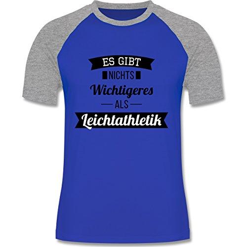 Sonstige Sportarten - Es gibt nichts Wichtigeres als Leichtathletik - zweifarbiges Baseballshirt für Männer Royalblau/Grau meliert