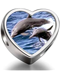 Dolphin Family Heart Photo Charm Beads FitCharms Bracelet