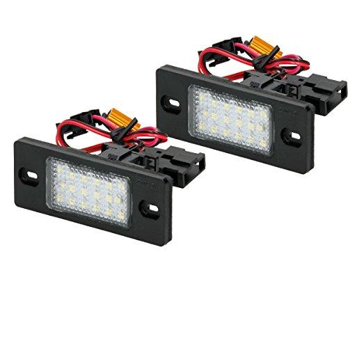 ECD Germany 2er Pack LED Kennzeichenbeleuchtung - mit E-Prüfzeichen - Reinweiß 6000K - Xenon Weiß - Kennzeichenleuchte Nummernschildbeleuchtung