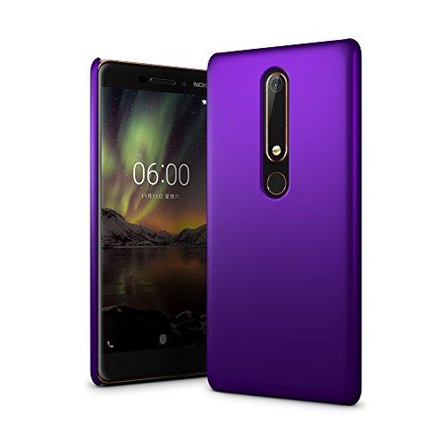 SLEO Hülle für Nokia 6.1/Nokia 6 2018 Hülle Harte PC SchutzHülle [Anti-Fingerabdrücke] Stilvolle [Soft-Touch] Rückseite Tasche für Hülle für Nokia 6.1/Nokia 6 2018 - Lila