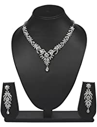Vk Jewels Wedding Collection Silver Brass Alloy Necklace Set For Women Vknkz1102S