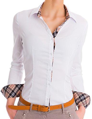 Damen Figurbetonte Langarm Bluse Business Hemd Tailliert (469), Farbe:Weiß, Large (Langarm Seiden-chiffon-bluse)