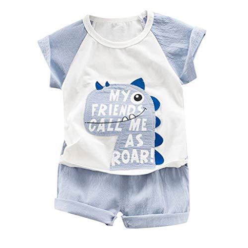 ddler Kinder Sommer Dinosaurier Gemustert Kleidungset 2Pcs Baby Jungen Kurzarm Karikatur Drucken Tops+ Schlichtes Einfarbig Shorts Neugeborenes Kleinkind Outfit Set Zweiteiliges ()