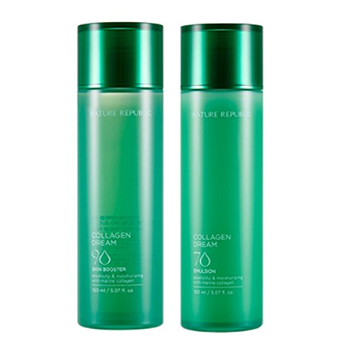 Nature Republic Collagen Dream Skin Booster 150 Ml Emulsion 150 Ml Set Moisturizing Improve Wrinkle Skin Care Elasticity Marine Collagen Acai Berry Hawaii Cona Deep Sea Water