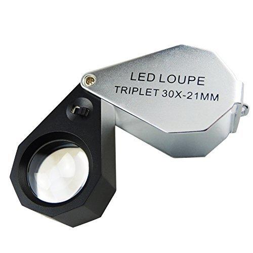 30 x/Juwelierlupe mit LED-Licht, 6-teilig (Frame Gain)