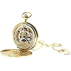 Gold Plated On Brass Mechanical Skeleton Pocket Watch Sun And Moon Design