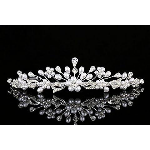 Venus Jewelry-Orecchini da sposa, dicono le donne realizzato a mano, con strass e punta a (Handcrafted Perle)