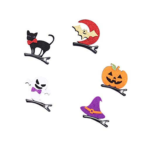 NUOBESTY 5pcs Halloween Haarnadeln Ghost Haarnadeln Kürbis Haarnadeln Schwarze Katze Haarnadeln Fledermaus Haarnadeln Hexe Haarnadeln Halloween Party Favors