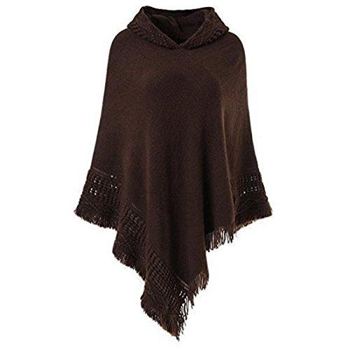 Vertvie Femme Poncho à Capuche Lâche avec Franges Cape Tricoté au Crochet Couleur Uni Manteau Veste Pull Café
