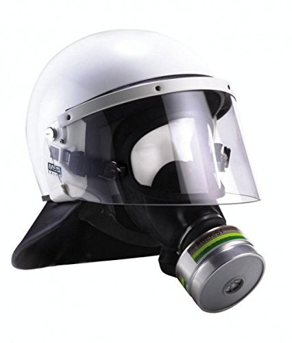 MSA Polizei 3S-H-A Vollmaske für Helm-Masken-Kombination inkl. 3S-H-A Zusatzbebänderung für das Tragen der Vollmaske ohne Helm