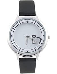 KMS Heart Print Dial Women's Black Analog Watches
