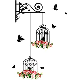 Studio Curate Colourful Flowers, Birds and Birdcage Wall Sticker(PVC Vinyl, Multicolour, 76x56cm) – Pack of 1
