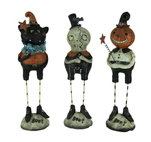Transpac Kunstharz Halloween Decor Set von 3Kürbis Guckt Vintage Look Halloween Figuren 6,3x 22,9x 5,7cm farbenreiche