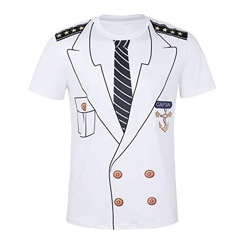 (Agoky Herren T-Shirt weiß mit Druck Kapitän Halloween Weinachten Cosplay Kostüm Kurzarm Rundhals weich lose Shirts Tee Captain Weiß XL(Brust 110cm))