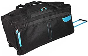"FunkyTravelbags Large Black & Blue 27"" Wheeled Holdall, Suitcase Travel Bag"