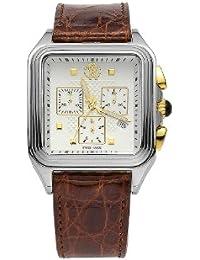 Roberto Cavalli Men's Venom Chronograph Watch R7251692045 with Quartz Movement, Leather Bracelet and White Dial