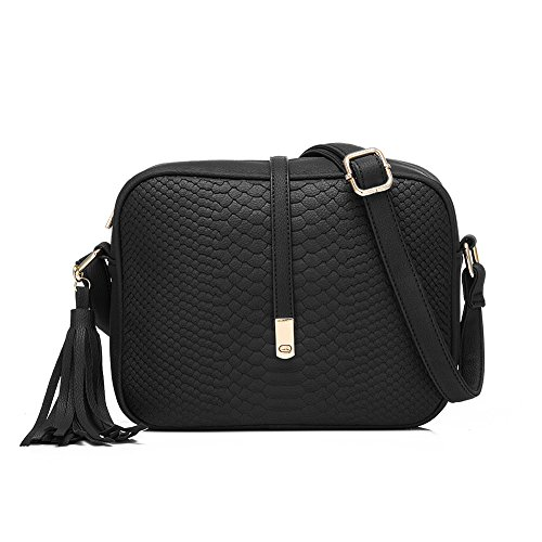 Realer Brand Small PU Leather Purses Crossbody Bags for Women with Tassel Black